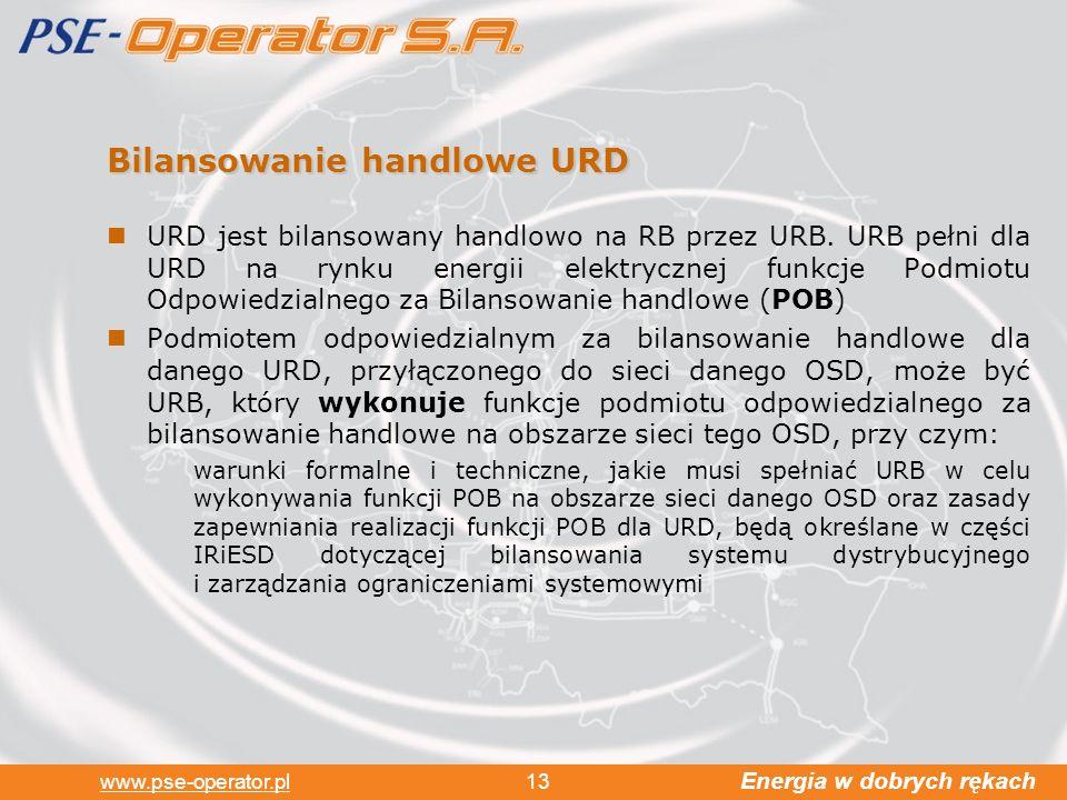 Energia w dobrych rękach www.pse-operator.pl 13 Bilansowanie handlowe URD URD jest bilansowany handlowo na RB przez URB.