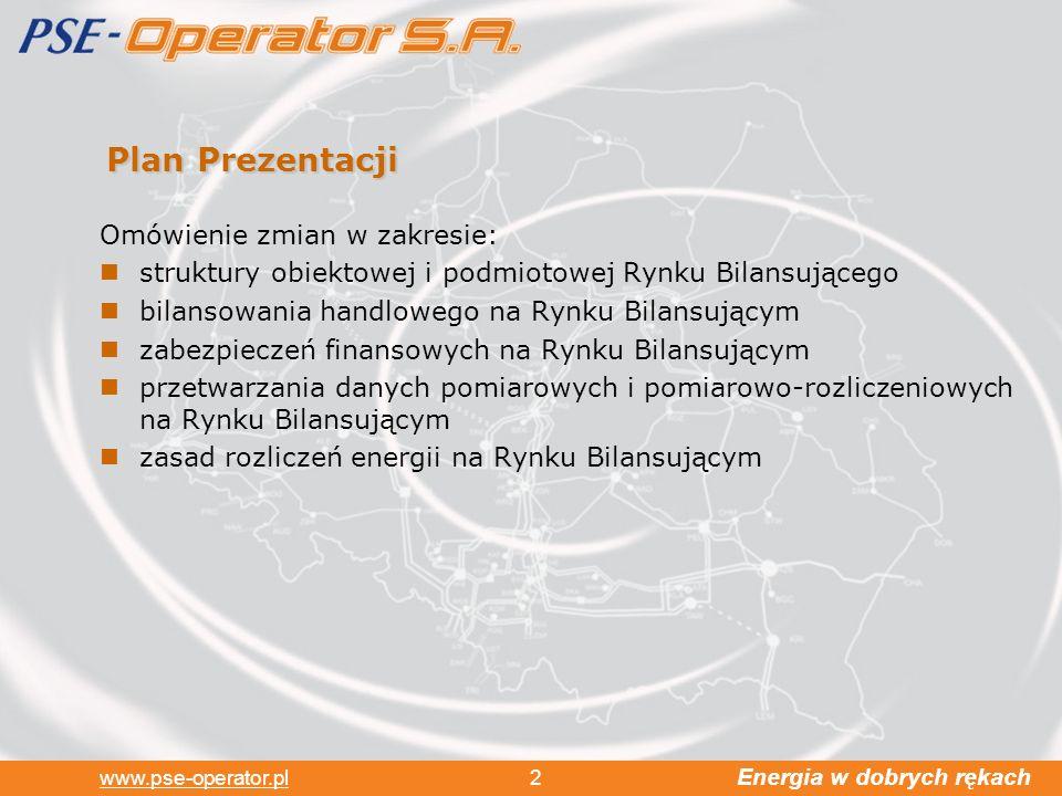 Energia w dobrych rękach www.pse-operator.pl 2 Plan Prezentacji Omówienie zmian w zakresie: struktury obiektowej i podmiotowej Rynku Bilansującego bilansowania handlowego na Rynku Bilansującym zabezpieczeń finansowych na Rynku Bilansującym przetwarzania danych pomiarowych i pomiarowo-rozliczeniowych na Rynku Bilansującym zasad rozliczeń energii na Rynku Bilansującym