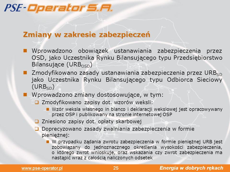 Energia w dobrych rękach www.pse-operator.pl 25 Zmiany w zakresie zabezpieczeń Wprowadzono obowiązek ustanawiania zabezpieczenia przez OSD, jako Uczestnika Rynku Bilansującego typu Przedsiębiorstwo Bilansujące (URB OSD ) Zmodyfikowano zasady ustanawiania zabezpieczenia przez URB SD jako Uczestnika Rynku Bilansującego typu Odbiorca Sieciowy (URB SD ) Wprowadzono zmiany dostosowujące, w tym: Zmodyfikowano zapisy dot.