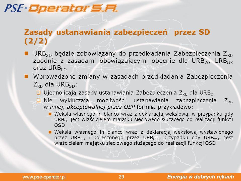 Energia w dobrych rękach www.pse-operator.pl 29 Zasady ustanawiania zabezpieczeń przez SD (2/2) URB SD będzie zobowiązany do przedkładania Zabezpieczenia Z RB zgodnie z zasadami obowiązującymi obecnie dla URB W, URB OK oraz URB PO Wprowadzone zmiany w zasadach przedkładania Zabezpieczenia Z RB dla URB SD : Ujednolicają zasady ustanawiania Zabezpieczenia Z RB dla URB O Nie wykluczają możliwości ustanawiania zabezpieczenia Z RB w innej, akceptowalnej przez OSP formie, przykładowo: Weksla własnego in blanco wraz z deklaracją wekslową, w przypadku gdy URB SD jest właścicielem majątku sieciowego służącego do realizacji funkcji OSD Weksla własnego in blanco wraz z deklaracją wekslową wystawionego przez URB SD i poręczonego przez URB OSD przypadku gdy URB OSD jest właścicielem majątku sieciowego służącego do realizacji funkcji OSD