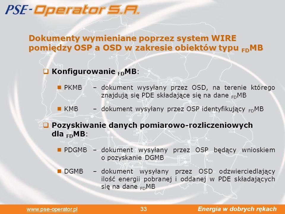 Energia w dobrych rękach www.pse-operator.pl 33 Dokumenty wymieniane poprzez system WIRE pomiędzy OSP a OSD w zakresie obiektów typu FD MB Konfigurowanie FD MB: PKMB –dokument wysyłany przez OSD, na terenie którego znajdują się PDE składające się na dane FD MB KMB –dokument wysyłany przez OSP identyfikujący FD MB Pozyskiwanie danych pomiarowo-rozliczeniowych dla FD MB: PDGMB–dokument wysyłany przez OSP będący wnioskiem o pozyskanie DGMB DGMB–dokument wysyłany przez OSD odzwierciedlający ilość energii pobranej i oddanej w PDE składających się na dane FD MB