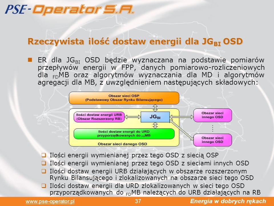 Energia w dobrych rękach www.pse-operator.pl 37 Rzeczywista ilość dostaw energii dla JG BI OSD ER dla JG BI OSD będzie wyznaczana na podstawie pomiarów przepływów energii w FPP, danych pomiarowo-rozliczeniowych dla FD MB oraz algorytmów wyznaczania dla MD i algorytmów agregacji dla MB, z uwzględnieniem następujących składowych: Ilości energii wymienianej przez tego OSD z siecią OSP Ilości energii wymienianej przez tego OSD z sieciami innych OSD Ilości dostaw energii URB działających w obszarze rozszerzonym Rynku Bilansującego i zlokalizowanych na obszarze sieci tego OSD Ilości dostaw energii dla URD zlokalizowanych w sieci tego OSD przyporządkowanych do FD MB należących do URB działających na RB