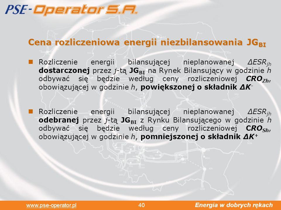 Energia w dobrych rękach www.pse-operator.pl 40 Cena rozliczeniowa energii niezbilansowania JG BI Rozliczenie energii bilansującej nieplanowanej ESR jh dostarczonej przez j-tą JG BI na Rynek Bilansujący w godzinie h odbywać się będzie według ceny rozliczeniowej CRO Zh, obowiązującej w godzinie h, powiększonej o składnik K - Rozliczenie energii bilansującej nieplanowanej ESR jh odebranej przez j-tą JG BI z Rynku Bilansującego w godzinie h odbywać się będzie według ceny rozliczeniowej CRO Sh, obowiązującej w godzinie h, pomniejszonej o składnik K +