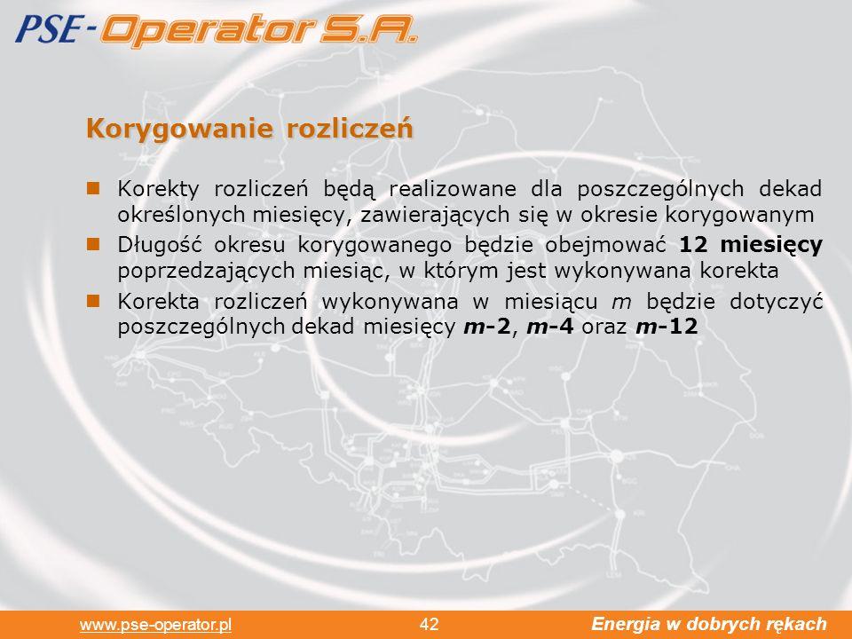 Energia w dobrych rękach www.pse-operator.pl 42 Korygowanie rozliczeń Korekty rozliczeń będą realizowane dla poszczególnych dekad określonych miesięcy, zawierających się w okresie korygowanym Długość okresu korygowanego będzie obejmować 12 miesięcy poprzedzających miesiąc, w którym jest wykonywana korekta Korekta rozliczeń wykonywana w miesiącu m będzie dotyczyć poszczególnych dekad miesięcy m-2, m-4 oraz m-12