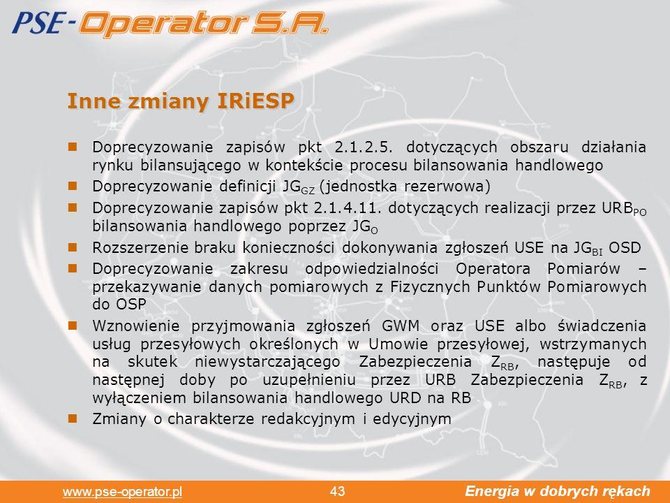 Energia w dobrych rękach www.pse-operator.pl 43 Inne zmiany IRiESP Doprecyzowanie zapisów pkt 2.1.2.5.