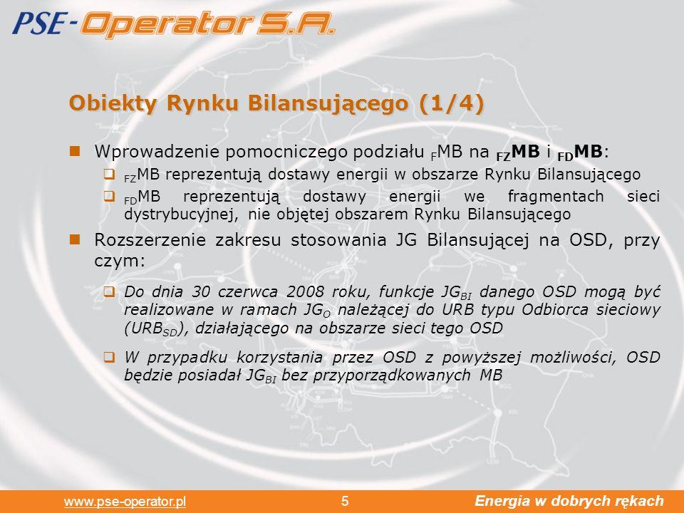 Energia w dobrych rękach www.pse-operator.pl 5 Obiekty Rynku Bilansującego (1/4) Wprowadzenie pomocniczego podziału F MB na FZ MB i FD MB: FZ MB reprezentują dostawy energii w obszarze Rynku Bilansującego FD MB reprezentują dostawy energii we fragmentach sieci dystrybucyjnej, nie objętej obszarem Rynku Bilansującego Rozszerzenie zakresu stosowania JG Bilansującej na OSD, przy czym: Do dnia 30 czerwca 2008 roku, funkcje JG BI danego OSD mogą być realizowane w ramach JG O należącej do URB typu Odbiorca sieciowy (URB SD ), działającego na obszarze sieci tego OSD W przypadku korzystania przez OSD z powyższej możliwości, OSD będzie posiadał JG BI bez przyporządkowanych MB