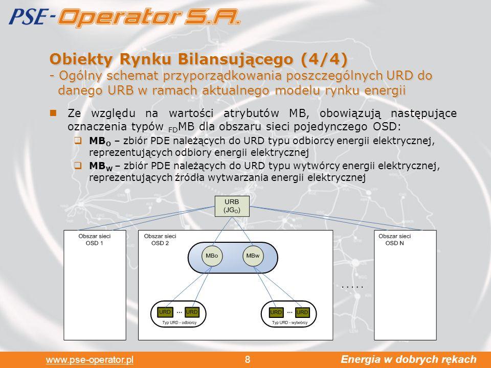 Energia w dobrych rękach www.pse-operator.pl 8 Obiekty Rynku Bilansującego (4/4) -Ogólny schemat przyporządkowania poszczególnych URD do danego URB w ramach aktualnego modelu rynku energii Ze względu na wartości atrybutów MB, obowiązują następujące oznaczenia typów FD MB dla obszaru sieci pojedynczego OSD: MB O – zbiór PDE należących do URD typu odbiorcy energii elektrycznej, reprezentujących odbiory energii elektrycznej MB W – zbiór PDE należących do URD typu wytwórcy energii elektrycznej, reprezentujących źródła wytwarzania energii elektrycznej