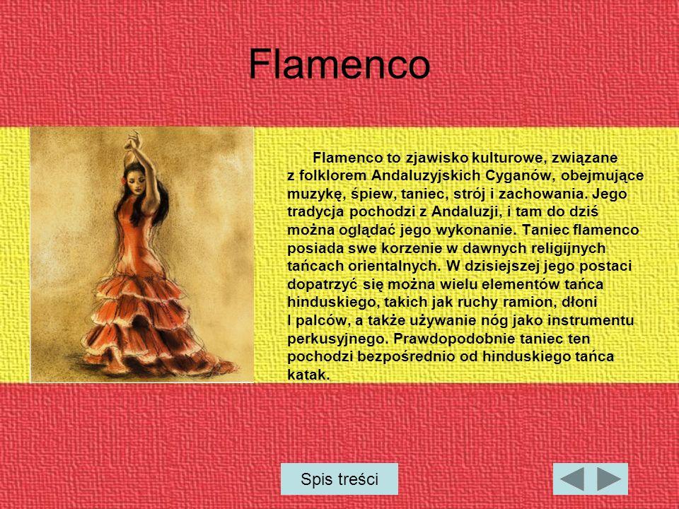 Flamenco Flamenco to zjawisko kulturowe, związane z folklorem Andaluzyjskich Cyganów, obejmujące muzykę, śpiew, taniec, strój i zachowania.