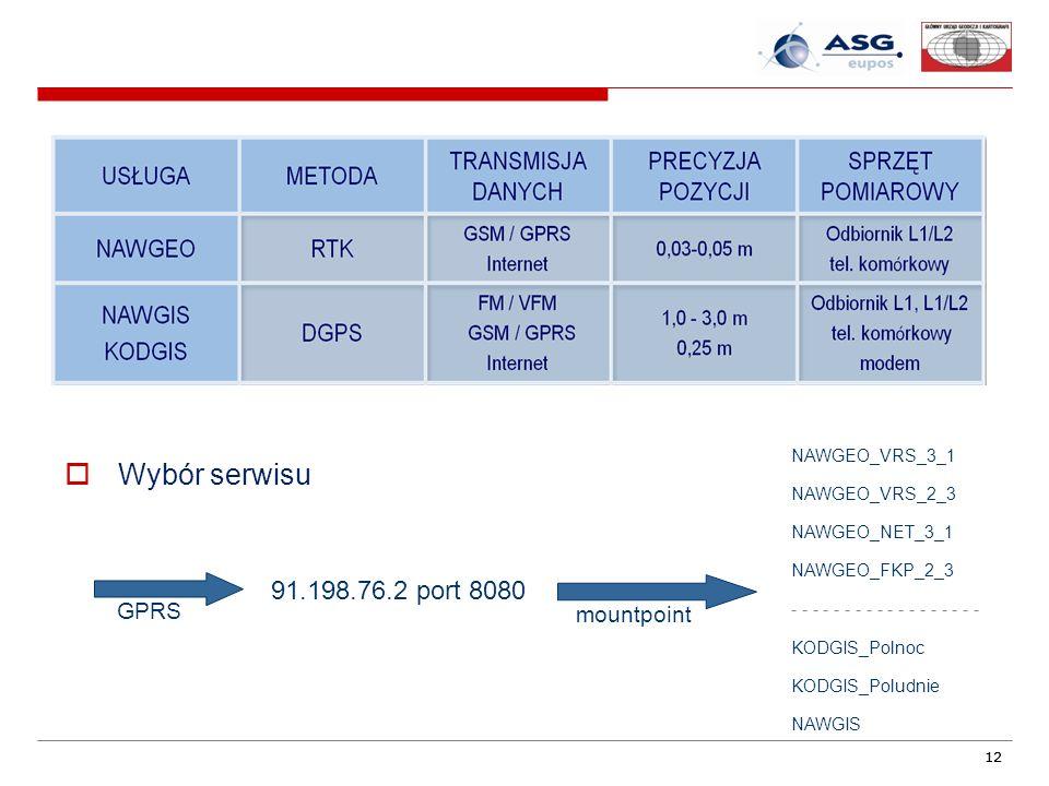 12 Wybór serwisu 91.198.76.2 port 8080 NAWGEO_VRS_3_1 NAWGEO_VRS_2_3 NAWGEO_NET_3_1 NAWGEO_FKP_2_3 - - - - - - - - - KODGIS_Polnoc KODGIS_Poludnie NAWGIS GPRS mountpoint