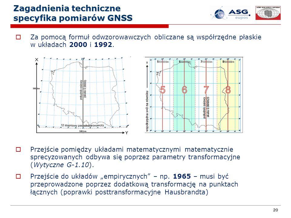 20 Zagadnienia techniczne specyfika pomiarów GNSS Za pomocą formuł odwzorowawczych obliczane są współrzędne płaskie w układach 2000 i 1992. Przejście