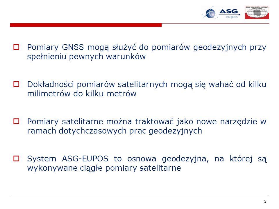 33 Pomiary GNSS mogą służyć do pomiarów geodezyjnych przy spełnieniu pewnych warunków Dokładności pomiarów satelitarnych mogą się wahać od kilku milim