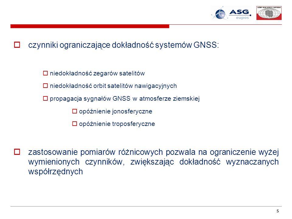 55 czynniki ograniczające dokładność systemów GNSS: niedokładność zegarów satelitów niedokładność orbit satelitów nawigacyjnych propagacja sygnałów GN