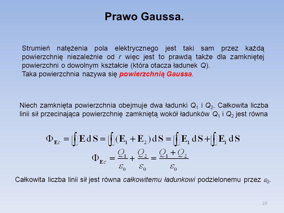 23 Prawo Gaussa. Strumień natężenia pola elektrycznego jest taki sam przez każdą powierzchnię niezależnie od r więc jest to prawdą także dla zamknięte