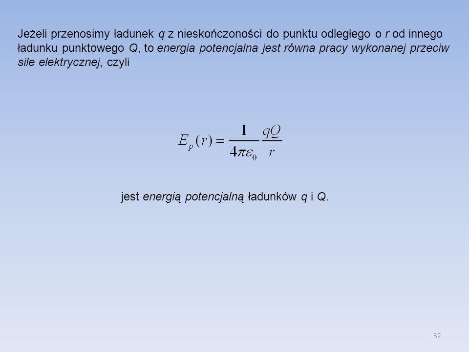 32 Jeżeli przenosimy ładunek q z nieskończoności do punktu odległego o r od innego ładunku punktowego Q, to energia potencjalna jest równa pracy wykon