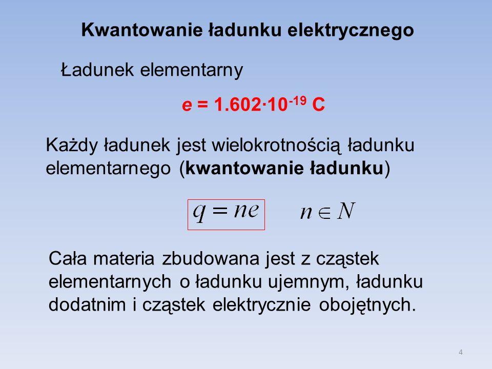 4 Kwantowanie ładunku elektrycznego Ładunek elementarny e = 1.602·10 -19 C Każdy ładunek jest wielokrotnością ładunku elementarnego (kwantowanie ładun