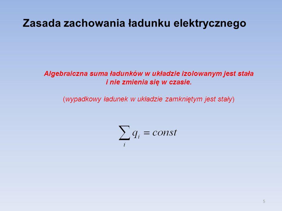 5 Zasada zachowania ładunku elektrycznego Algebraiczna suma ładunków w układzie izolowanym jest stała i nie zmienia się w czasie. (wypadkowy ładunek w