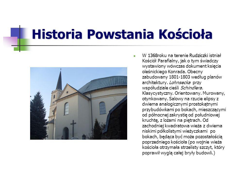 Historia Powstania Kościoła 1368Rudziczki W 1368roku na terenie Rudziczki istniał Kościół Parafialny, jak o tym świadczy wystawiony wówczas dokument księcia oleśnickiego Konrada.