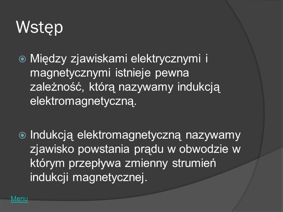 Wstęp Między zjawiskami elektrycznymi i magnetycznymi istnieje pewna zależność, którą nazywamy indukcją elektromagnetyczną. Indukcją elektromagnetyczn