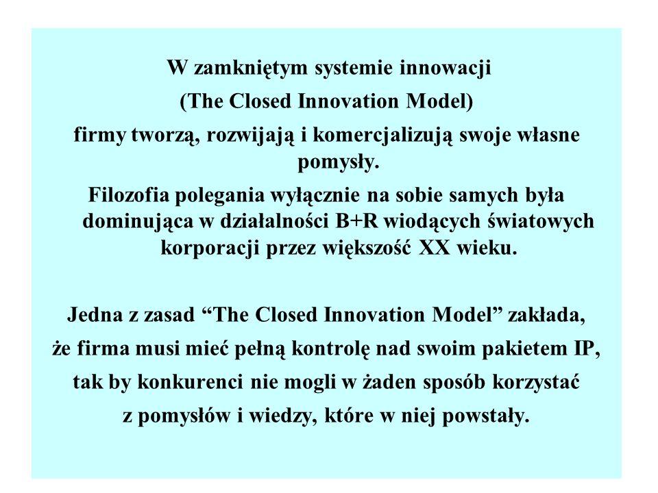 W zamkniętym systemie innowacji (The Closed Innovation Model) firmy tworzą, rozwijają i komercjalizują swoje własne pomysły. Filozofia polegania wyłąc