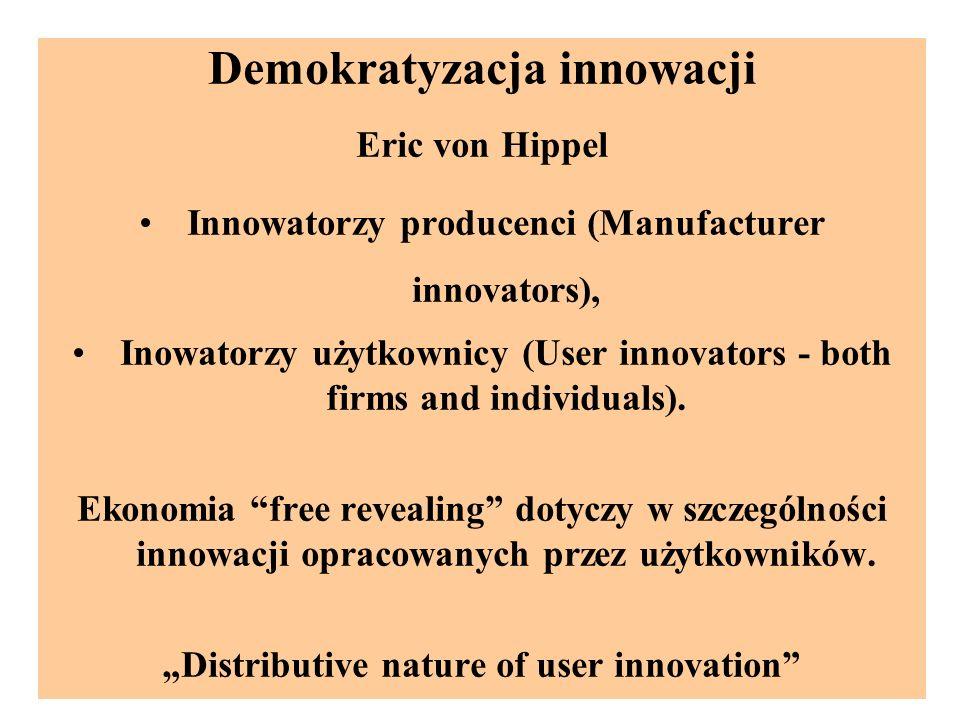 Demokratyzacja innowacji Eric von Hippel Innowatorzy producenci (Manufacturer innovators), Inowatorzy użytkownicy (User innovators - both firms and individuals).