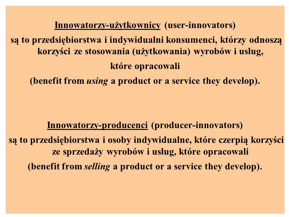 Innowatorzy-użytkownicy (user-innovators) są to przedsiębiorstwa i indywidualni konsumenci, którzy odnoszą korzyści ze stosowania (użytkowania) wyrobów i usług, które opracowali (benefit from using a product or a service they develop).