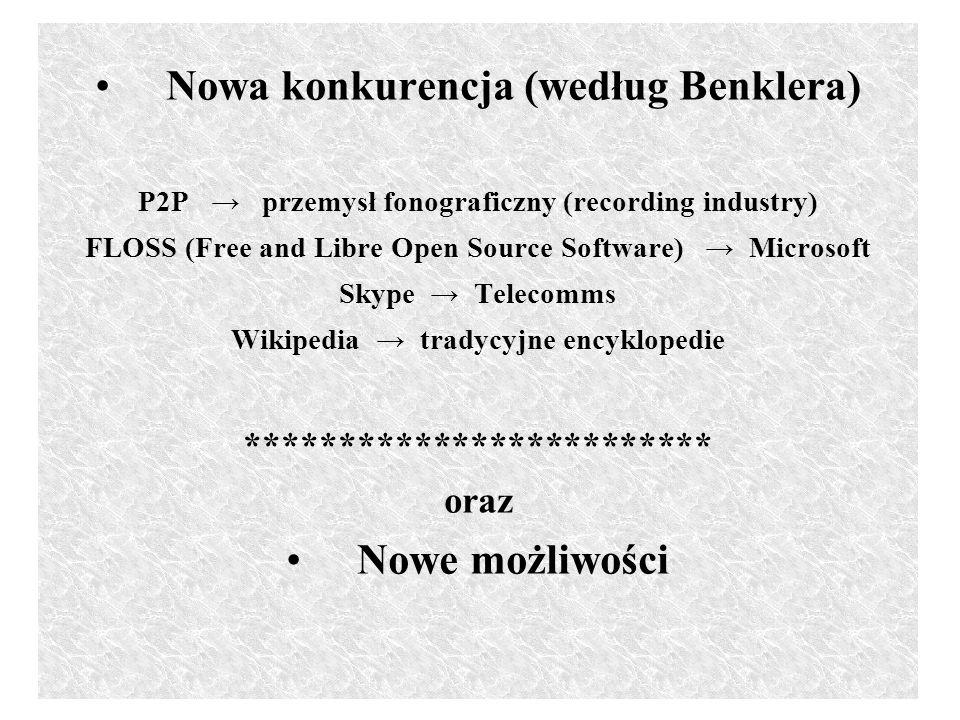 Nowa konkurencja (według Benklera) P2P przemysł fonograficzny (recording industry) FLOSS (Free and Libre Open Source Software) Microsoft Skype Telecomms Wikipedia tradycyjne encyklopedie ************************* oraz Nowe możliwości