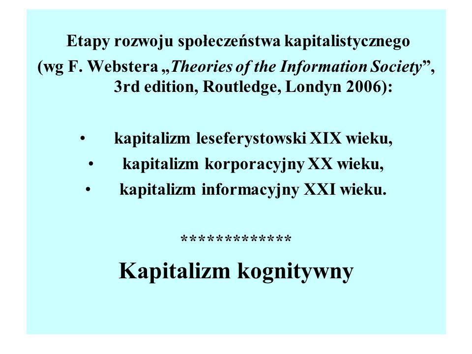 Etapy rozwoju społeczeństwa kapitalistycznego (wg F. Webstera Theories of the Information Society, 3rd edition, Routledge, Londyn 2006): kapitalizm le