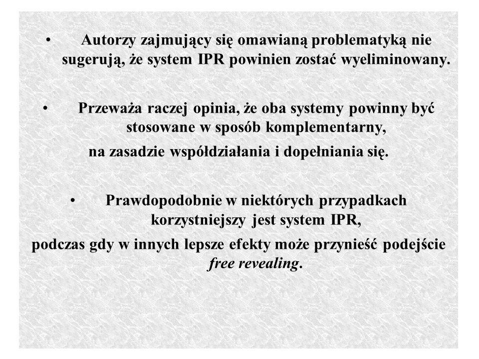 Autorzy zajmujący się omawianą problematyką nie sugerują, że system IPR powinien zostać wyeliminowany. Przeważa raczej opinia, że oba systemy powinny