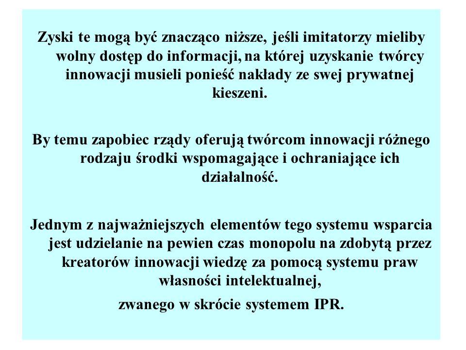 Własność intelektualna (Intellectual property) Obejmuje dwie kategorie praw własności (Intellectual Property Rights - IPR): własność przemysłową (Industrial property): patenty, wzory użytkowe, znaki towarowe, wzory przemysłowe, topografie układów scalonych, prawa autorskie (osobiste i majątkowe, Copyrights) – odnoszą się do dzieł literackich, naukowych, muzycznych, plastycznych, fotograficznych, audiowizualnych, wzornictwa przemysłowego itp., łącznie z pewnymi typami oprogramowania.