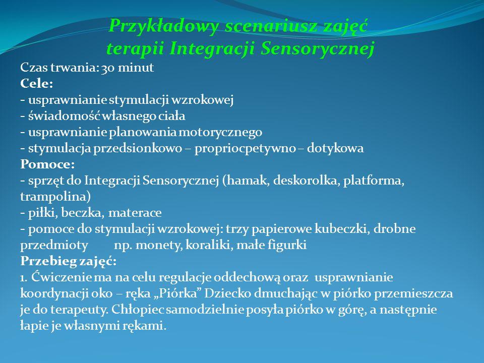 Przykładowy scenariusz zajęć terapii Integracji Sensorycznej Czas trwania: 30 minut Cele: - usprawnianie stymulacji wzrokowej - świadomość własnego ci