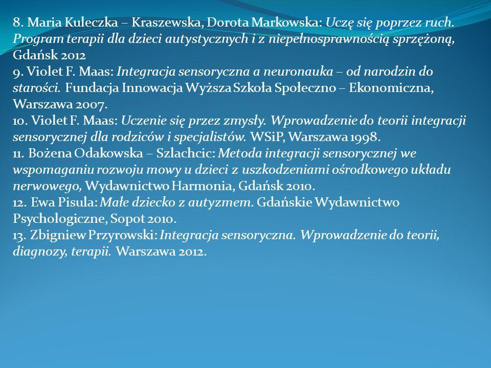 8. Maria Kuleczka – Kraszewska, Dorota Markowska: Uczę się poprzez ruch. Program terapii dla dzieci autystycznych i z niepełnosprawnością sprzężoną, G