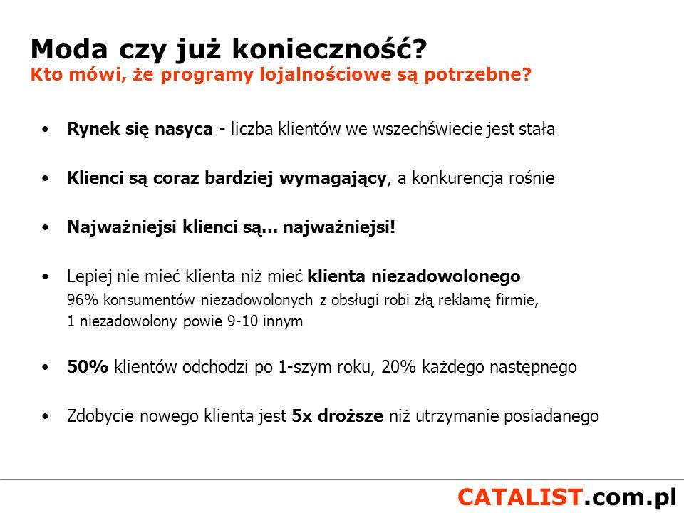 CATALIST.com.pl Unikalność = lojalność Troszcz się o klienta w sposób, który jest dla niego ważny Buduj trwałe relacje z korzyścią dla klienta i zyskiem dla firmy Zrozum klienta - Internet najefektywniejszym medium interakcji ( SONDA.pl - serwis sondażowy) Nie zabieraj mu czasu na sprawy, które go nie interesują Klienci chcą być traktowani indywidualnie