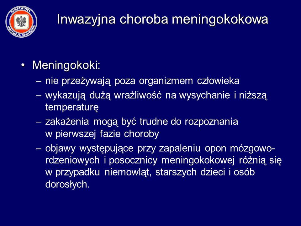 Meningokoki:Meningokoki: –nie przeżywają poza organizmem człowieka –wykazują dużą wrażliwość na wysychanie i niższą temperaturę –zakażenia mogą być tr