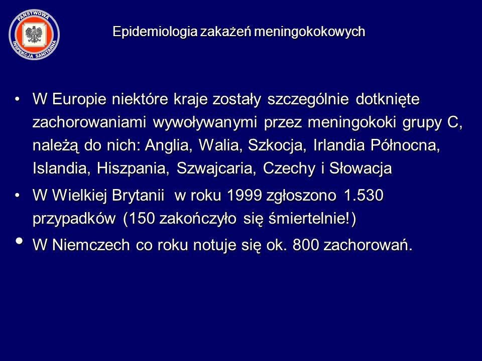 W Europie niektóre kraje zostały szczególnie dotknięte zachorowaniami wywoływanymi przez meningokoki grupy C, należą do nich: Anglia, Walia, Szkocja,