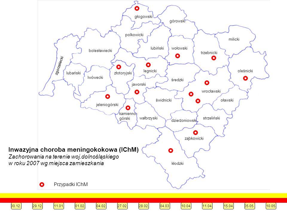 30.12..29.12.11.01.01.02.04.02.27.02.28.02.04.03.10.04.11.04.15.04.05.05..10.05. Przypadki IChM Inwazyjna choroba meningokokowa (IChM) Zachorowania na