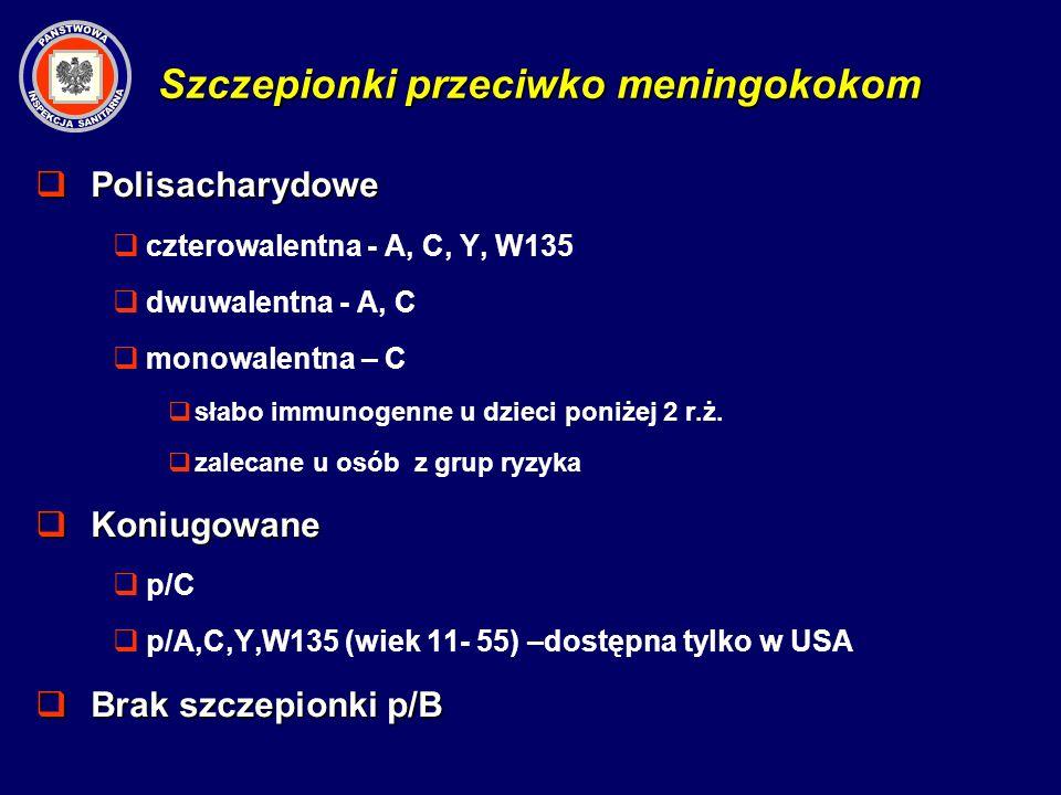 Szczepionki przeciwko meningokokom Polisacharydowe Polisacharydowe czterowalentna - A, C, Y, W135 dwuwalentna - A, C monowalentna – C słabo immunogenn
