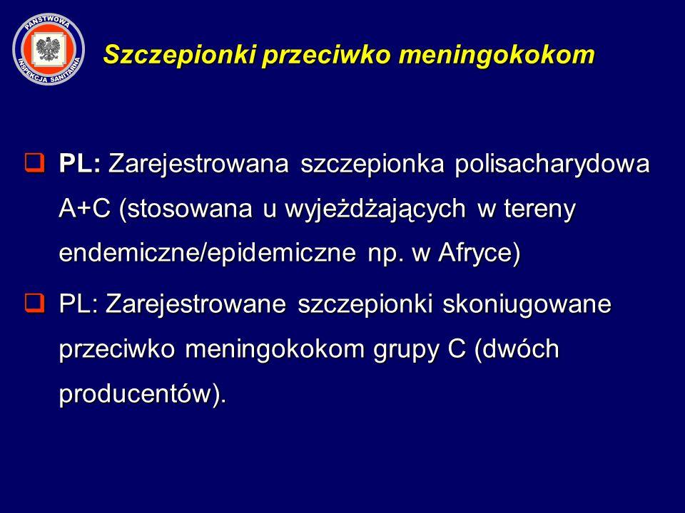 PL: Zarejestrowana szczepionka polisacharydowa A+C (stosowana u wyjeżdżających w tereny endemiczne/epidemiczne np. w Afryce) PL: Zarejestrowana szczep