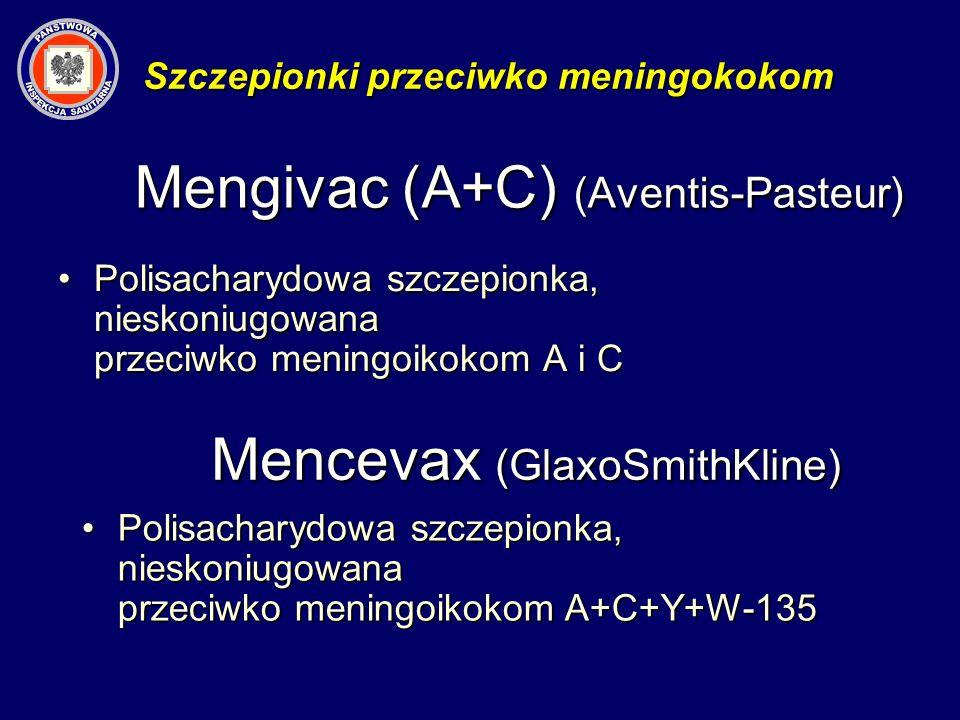 Mengivac (A+C) (Aventis-Pasteur) Polisacharydowa szczepionka, nieskoniugowana przeciwko meningoikokom A i CPolisacharydowa szczepionka, nieskoniugowan