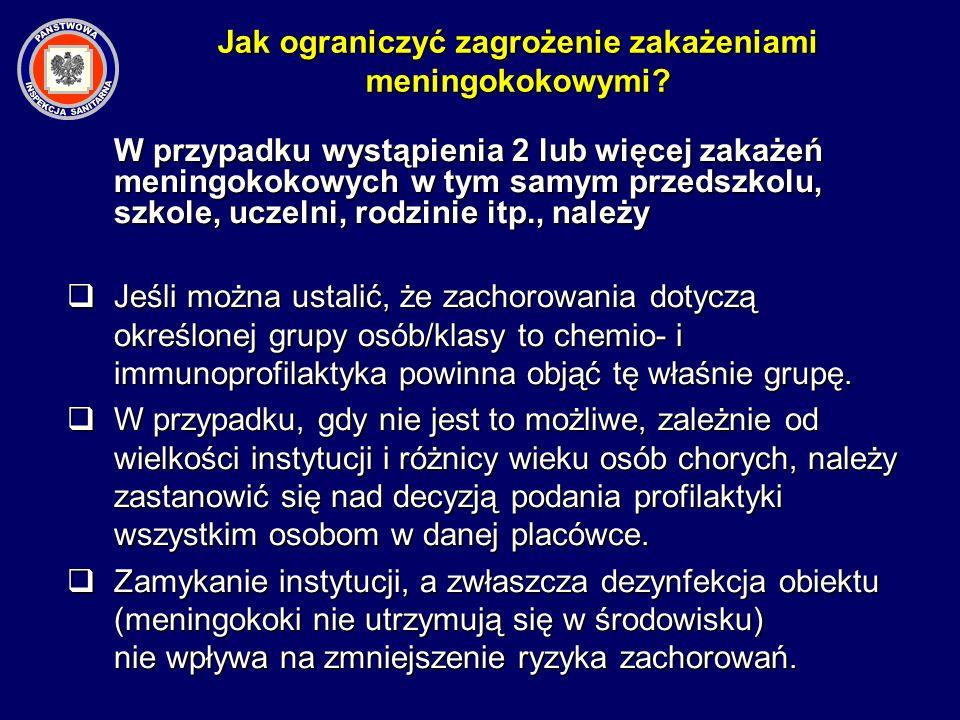 W przypadku wystąpienia 2 lub więcej zakażeń meningokokowych w tym samym przedszkolu, szkole, uczelni, rodzinie itp., należy Jeśli można ustalić, że z