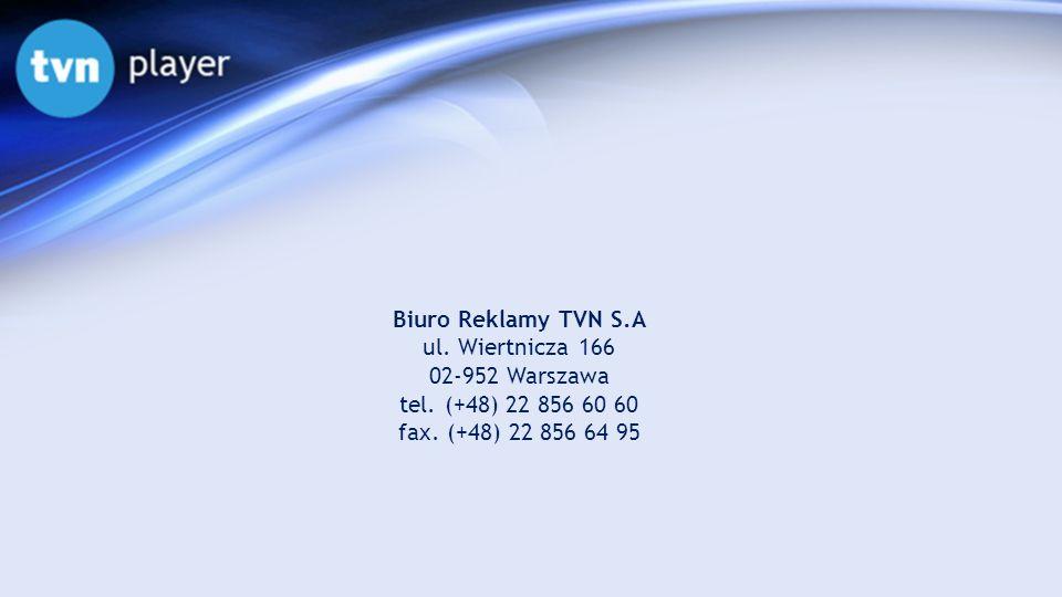 Biuro Reklamy TVN S.A ul. Wiertnicza 166 02-952 Warszawa tel. (+48) 22 856 60 60 fax. (+48) 22 856 64 95