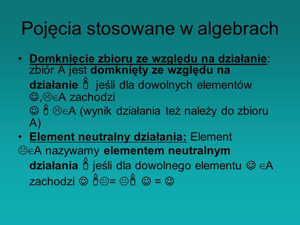 Domknięcie zbioru ze względu na działanie: zbiór A jest domknięty ze względu na działanie jeśli dla dowolnych elementów, A zachodzi A (wynik działania też należy do zbioru A) Element neutralny działania: Element A nazywamy elementem neutralnym działania jeśli dla dowolnego elementu A zachodzi = = Pojęcia stosowane w algebrach