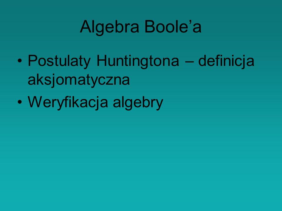 Algebra Boolea Postulaty Huntingtona – definicja aksjomatyczna Weryfikacja algebry