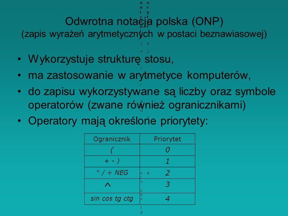 Odwrotna notacja polska (ONP) (zapis wyrażeń arytmetycznych w postaci beznawiasowej) Wykorzystuje strukturę stosu, ma zastosowanie w arytmetyce komputerów, do zapisu wykorzystywane są liczby oraz symbole operatorów (zwane również ogranicznikami) Operatory mają określone priorytety: OgranicznikOgranicznik PriorytetPriorytet (0 + - )+ - ) 1 * / ÷ NEG* / ÷ NEG 2 3 sin cos tg ctgsin cos tg ctg 4 OgranicznikPriorytet (0 + - ) 1 * / ÷ NEG 2 ^ 3 sin cos tg ctg 4