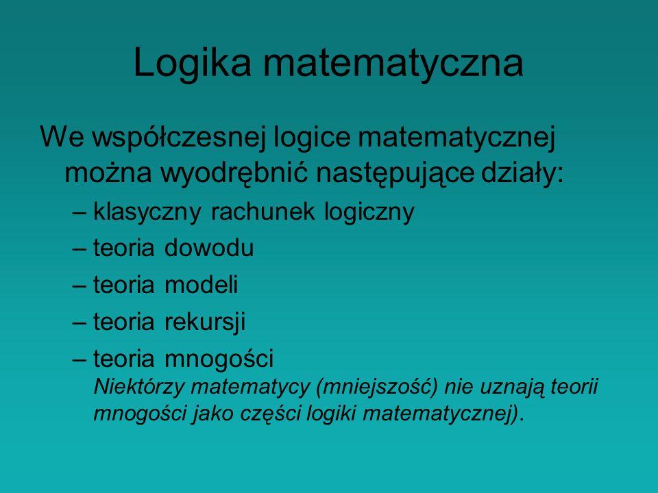 Logika matematyczna We współczesnej logice matematycznej można wyodrębnić następujące działy: –klasyczny rachunek logiczny –teoria dowodu –teoria modeli –teoria rekursji –teoria mnogości Niektórzy matematycy (mniejszość) nie uznają teorii mnogości jako części logiki matematycznej).