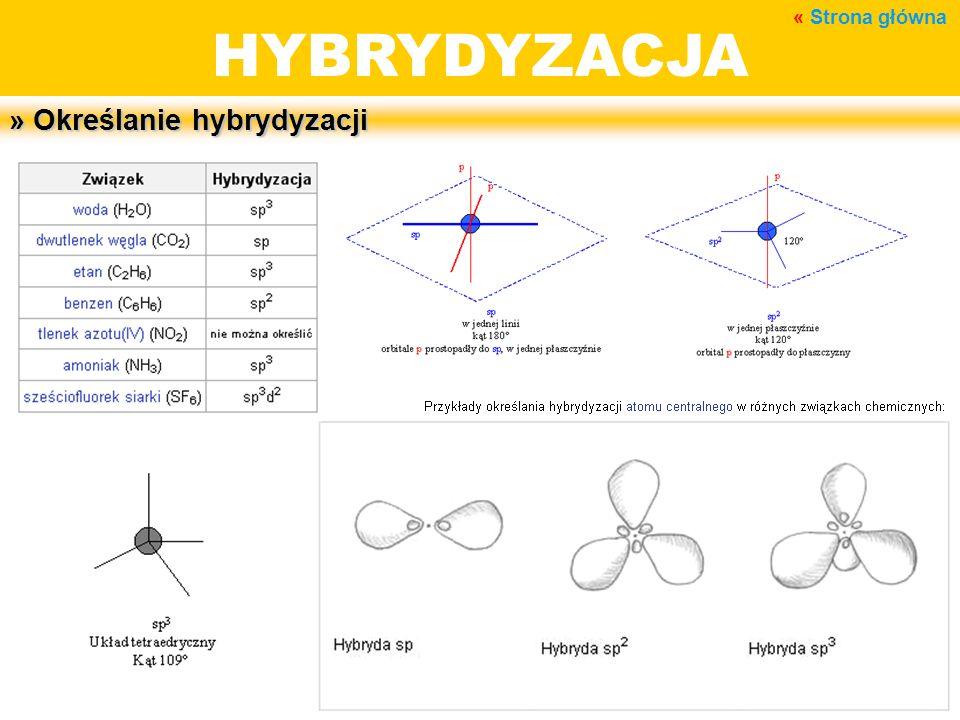 BUDOWA MATERII HYBRYDYZACJA » Określanie hybrydyzacji « Strona główna