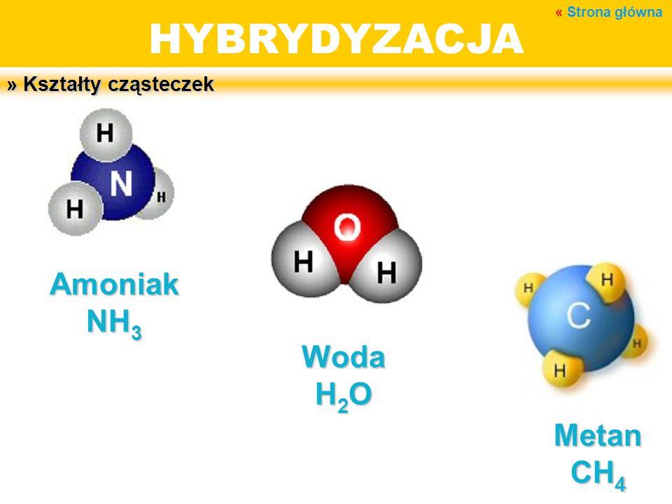 HYBRYDYZACJA » Kształty cząsteczek Amoniak NH 3 Woda H 2 O Metan CH 4 « Strona główna