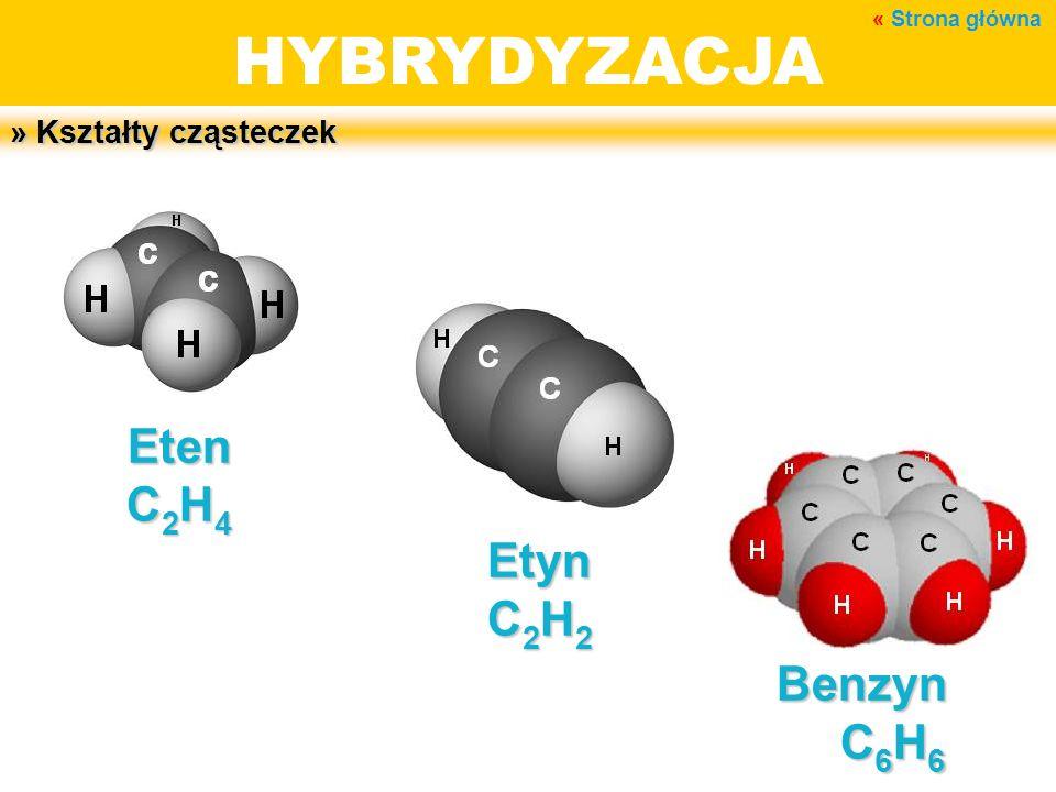 HYBRYDYZACJA » Kształty cząsteczek Eten C 2 H 4 Etyn C 2 H 2 Benzyn C 6 H 6 « Strona główna