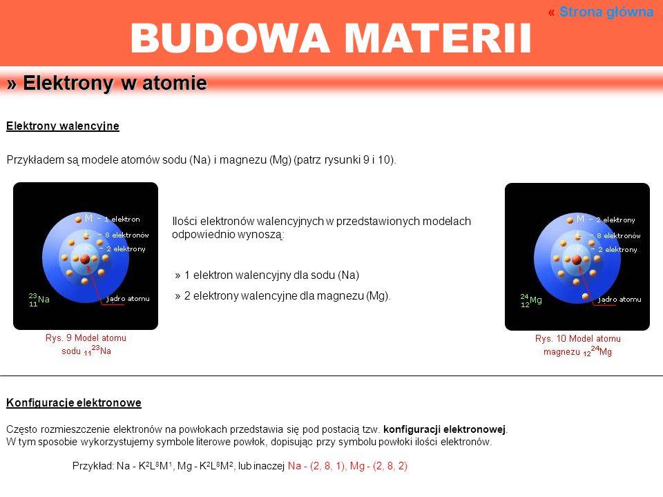 » Elektrony w atomie Elektrony walencyjne Przykładem są modele atomów sodu (Na) i magnezu (Mg) (patrz rysunki 9 i 10). Ilości elektronów walencyjnych