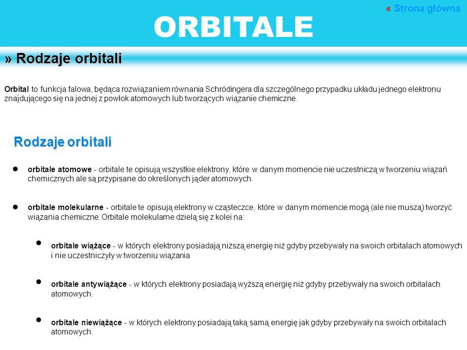 ORBITALE » Rodzaje orbitali Orbital to funkcja falowa, będąca rozwiązaniem równania Schrödingera dla szczególnego przypadku układu jednego elektronu z