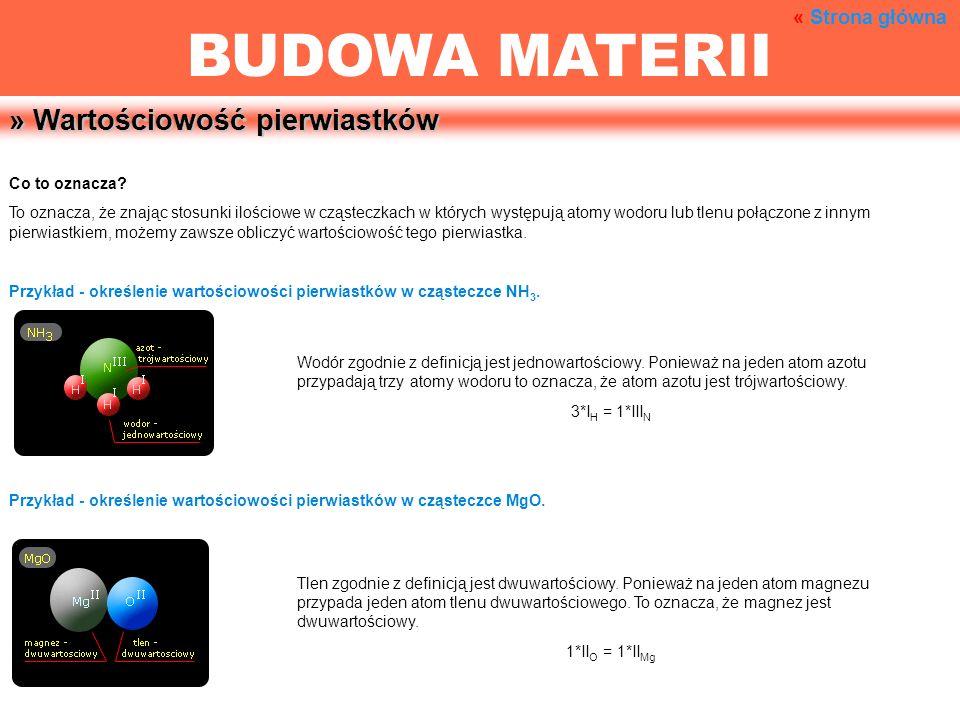 » Wartościowość pierwiastków Co to oznacza? To oznacza, że znając stosunki ilościowe w cząsteczkach w których występują atomy wodoru lub tlenu połączo